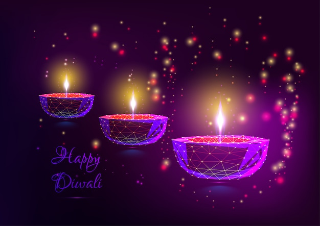 Happy diwali greeting card with glowing festival lights.