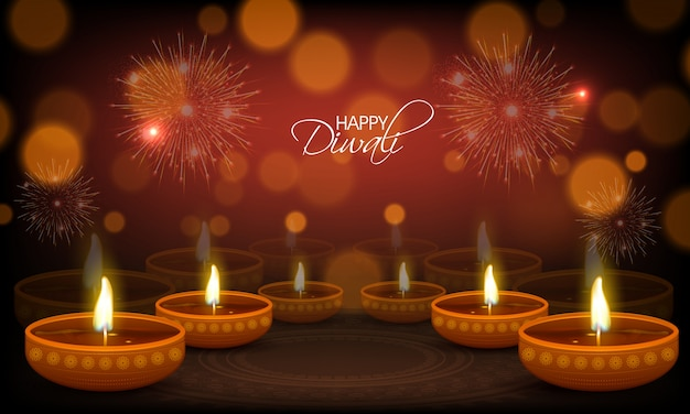 Happy diwali greeting card with illuminated oil lamps.
