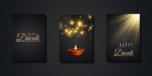 Happy diwali поздравительные открытки роскошная коллекция шаблонов приглашений на праздничный фестиваль индийских огней.