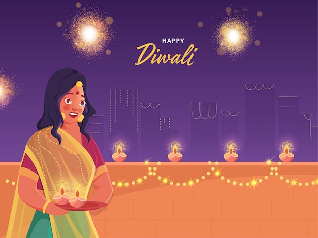 Happy diwali greeting design