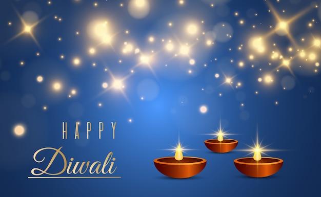 お祝いのインドのライトの招待状テンプレートの豪華なコレクションを挨拶する幸せなディワリ祭