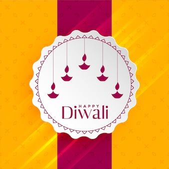 Happy diwali greeting with hanging diya