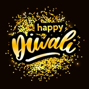 Happy diwali. handwritten brush black text, gold pinstripe. beautiful lettering invitation, greeting