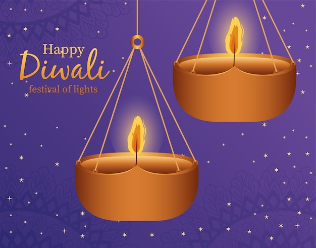 Happy diwali hanging candles on blue background design, festival of lights theme.
