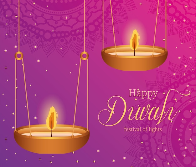 Happy diwali hanging candles on pink background design, festival of lights theme.