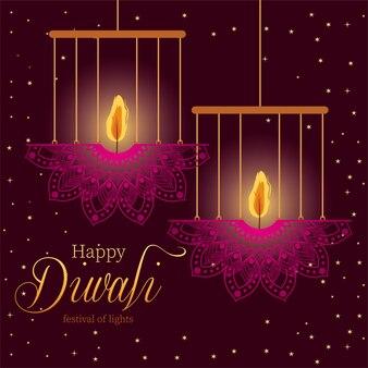Happy diwali hanging mandalas candles on purple background design, festival of lights theme.