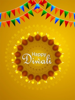 Happy diwali hindu festival background with creative oil lamp and party flag