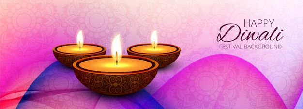 Happy diwali hindu festival banner decorative background