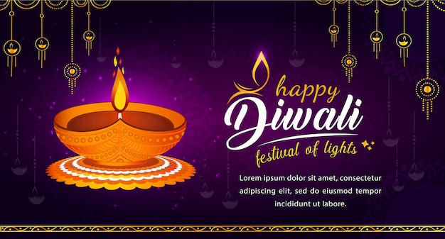 Happy diwali hindu festival banner, festival of lights illustration background