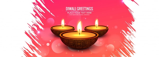 Happy diwali hindu holiday for light festival diwali banner