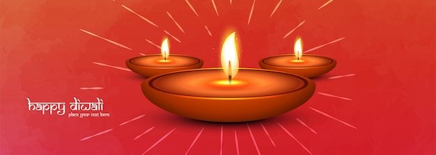 Happy diwali and illumimated oil lamps social media banner