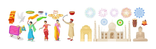 Happy diwali indian ethnic elements set. traditional religion festive holiday decor with shiny diya oil lamp, dancing woman in national outfit, sacred animal cow, salute, buddha statue cartoon vector