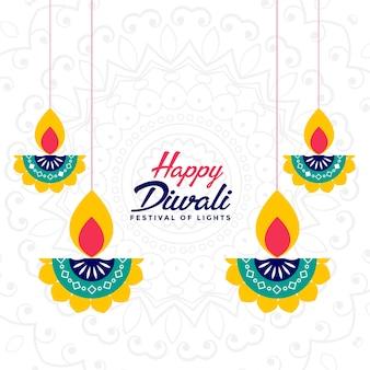 Carta di festival indiano di diwali felice con diya Vettore gratuito