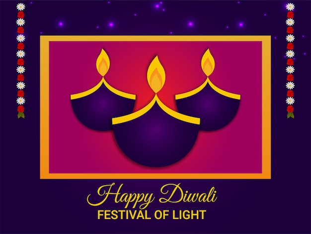 Happy diwali indian festival , diwali the festival of light with creative kalash on purple background