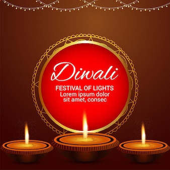 디왈리 디야가 있는 해피 디왈리 인도 축제 인사말 카드