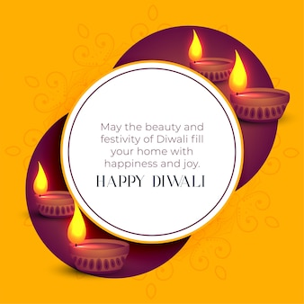 Happy diwali indian festival greeting template