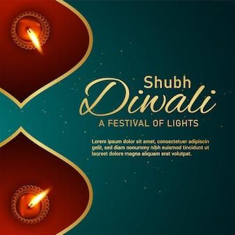 Happy diwali indian festival of light celebration greeting card with diwali diya