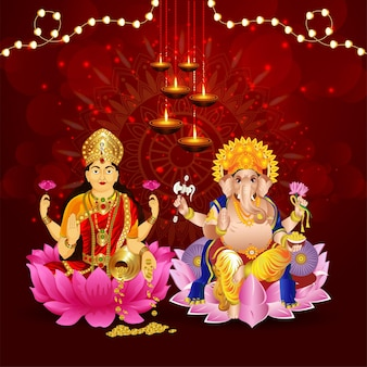 女神ラクサミとガネーシャ卿のベクトルイラストと光のお祝いバナーの幸せなディワリ祭インドの祭り