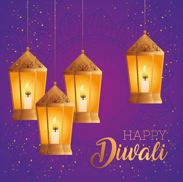 Happy diwali lanterns design, festival of lights theme
