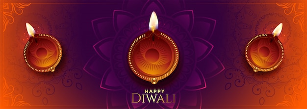 Happy diwali long banner with beautiful colors and diya