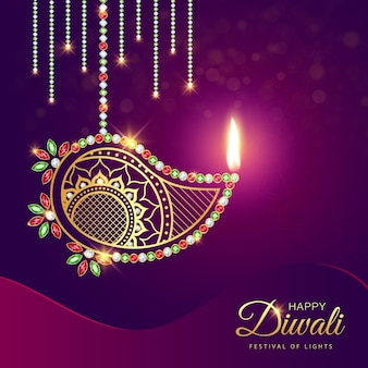 Happy diwali luxury gold diamond diya decoration background