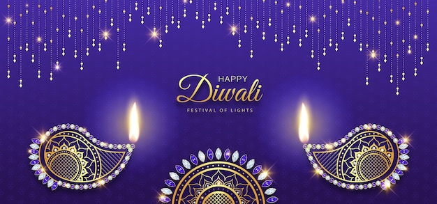 Happy diwali luxury gold diamond diya decoration background