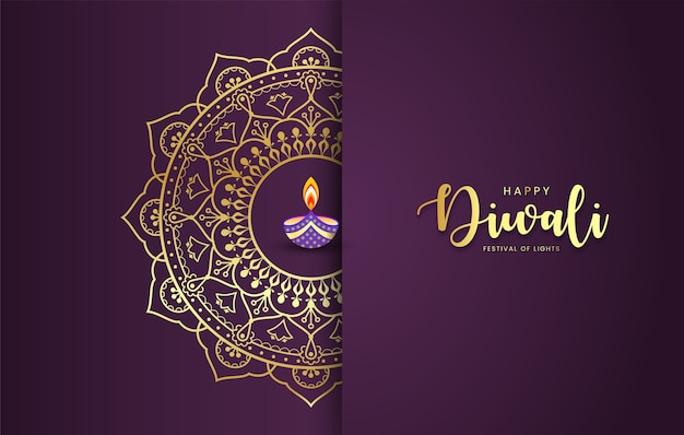 Happy diwali luxury mandala background