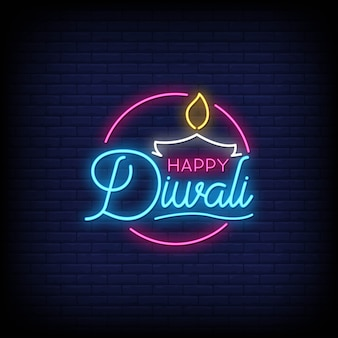 Happy diwali neon signs style text
