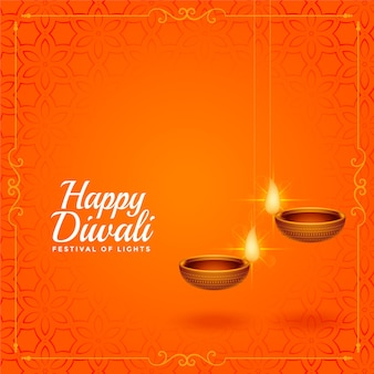 Happy diwali orange greeting with hanging diya