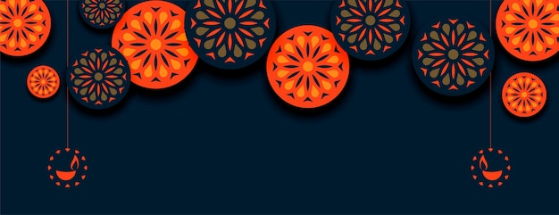 Happy diwali orange indian style decorative banner