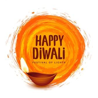 Happy diwali orange watercolor festival illustration