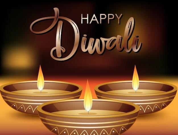 Disegno del manifesto di diwali felice