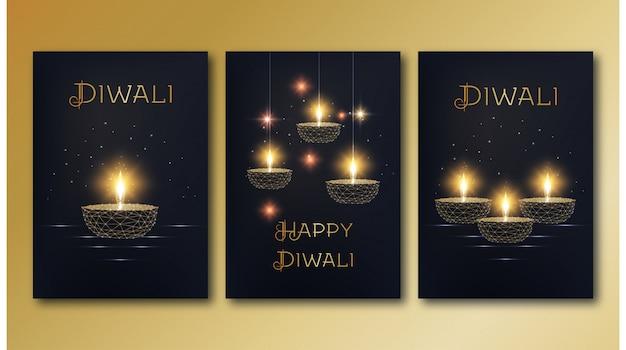 Happy diwali posters template set with golden glowing low poly oil lamp diya on black background.