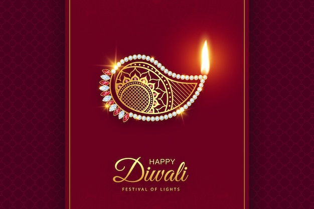 Happy diwali premium gold diamond diya decoration background