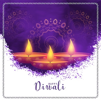 Happy diwali purple watercolor abstract background