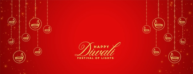 Bandiera rossa felice di diwali con decorazione diya