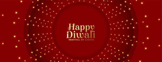 Happy diwali red banner with lights decoration