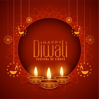Happy diwali red decorative background
