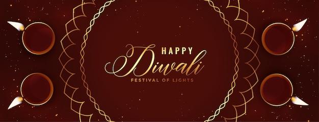 Felice banner religioso di diwali con decorazione diya