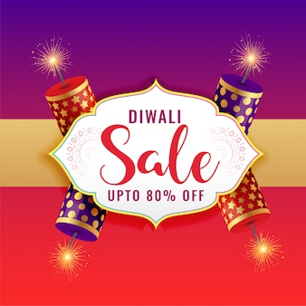 Happy diwali sale background with burning crackers