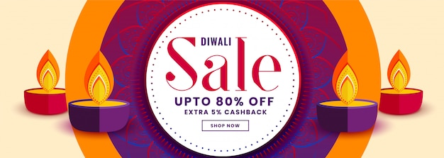 Happy diwali sale banner with colorful diya decoration