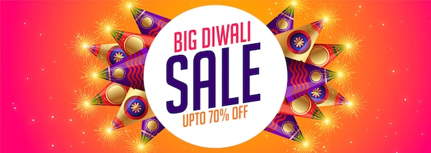 Happy diwali sale banner with crackers