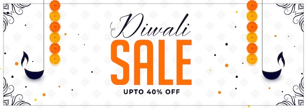 Happy diwali sale banner with diya and marigold flower