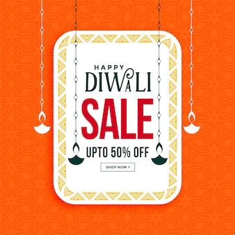 Happy diwali sale banner with hanging diya
