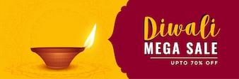 Happy diwali sale banner with realistic diya