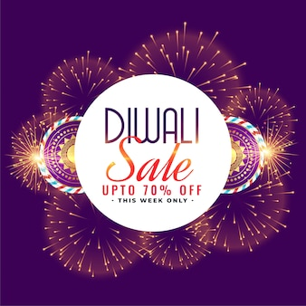 Happy diwali sale celebration firework with crackers