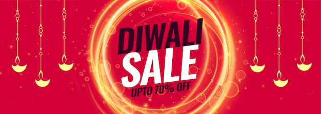 Happy diwali sale and discount banner template