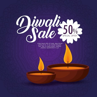 Happy diwali sale with candles