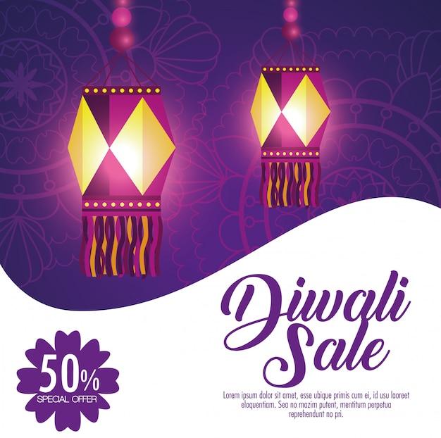 Happy diwali sale with lanterns