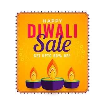 Happy diwali sale with three diya